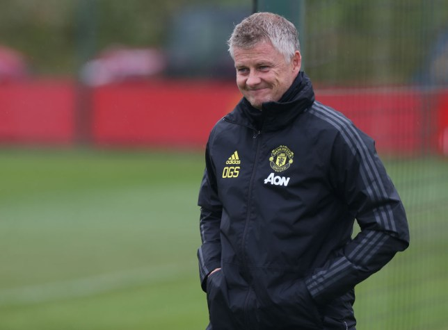 Manager Ole Gunnar Solskjaer of Manchester United in action during a first team training session at Aon Training Complex on July 07, 2020 in Manchester, England.