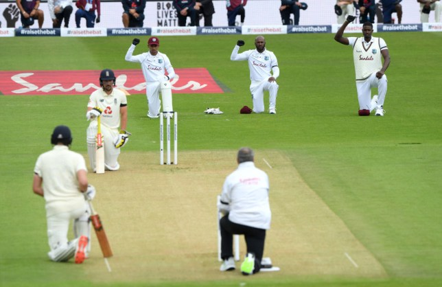 Both teams took a knee before the first Test between England and West Indies
