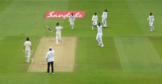 Holder celebrates his dismissal of England captain Ben Stokes