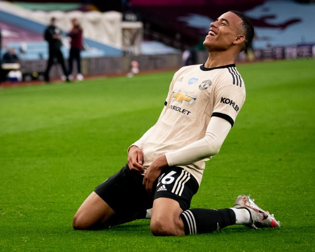 Mason Greenwood celebrates his goal in Manchester United's Premier League win at Aston Villa