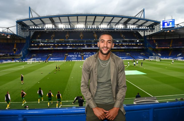 Hakim Ziyech at Stamford Bridge ahead of Chelsea's Premier League victory over Norwich