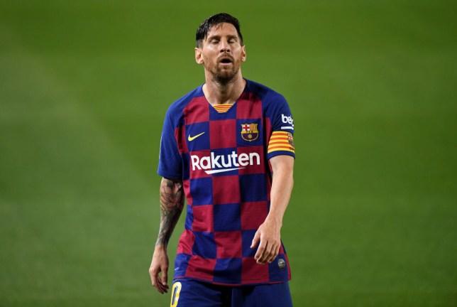 Lionel Messi looks despondent during Barcelona's La Liga defeat to Osasuna