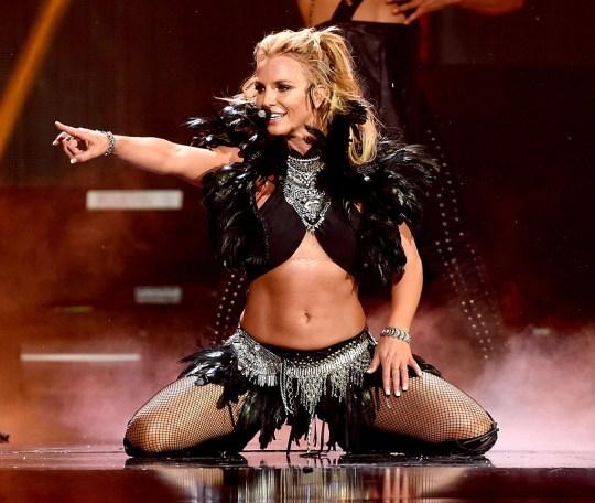 Singer Britney Spears performing on stage