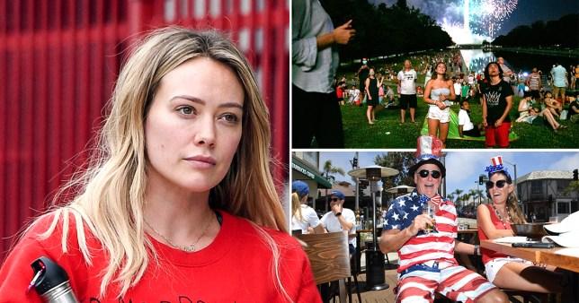 Hilary Duff pictured separately alongside people celebrating Fourth of July amid coronavirus