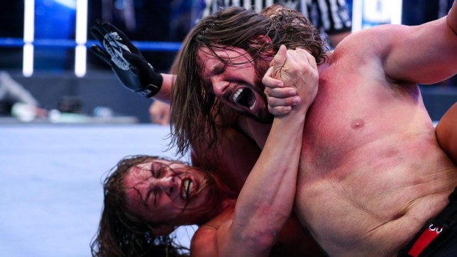 WWE superstars Matt Riddle and AJ Styles on SmackDown for the Intercontinental Championship match