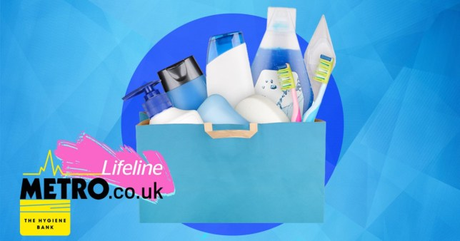 A mocked up image of toiletries in a gift bag