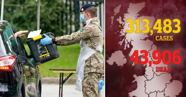 Composite image of death toll map and army member handing out PPE