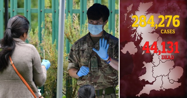 Composite image of heath workers and coronavirus death toll map