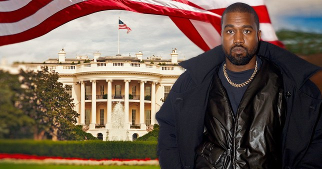 Kanye West in front of the White House