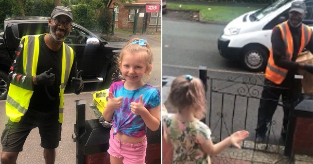 Heart-warming moment Tallulah, 8, from Greater Manchester, speaks to delivery driver Tim in sign language.