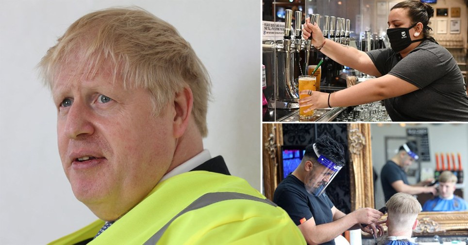 Prime Minister Boris Johnson (left), woman wearing a face mask pouring a pint at the pub and a barber wearing a face visor as the lockdown is eased significantly in England