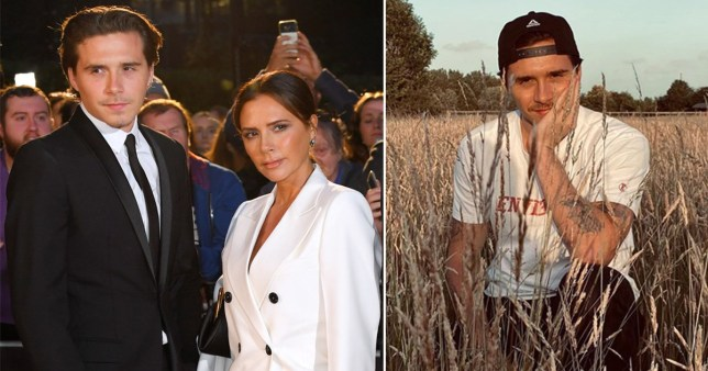 Brooklyn Beckham pictured with mum Victoria alongside picture of him posing in field