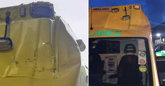 An ambulance damaged after it was hit by a traffic cone thrown from a bridge