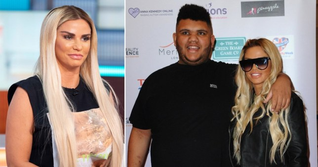 Katie Price pictured separately alongside picture of her and son Harvey at event