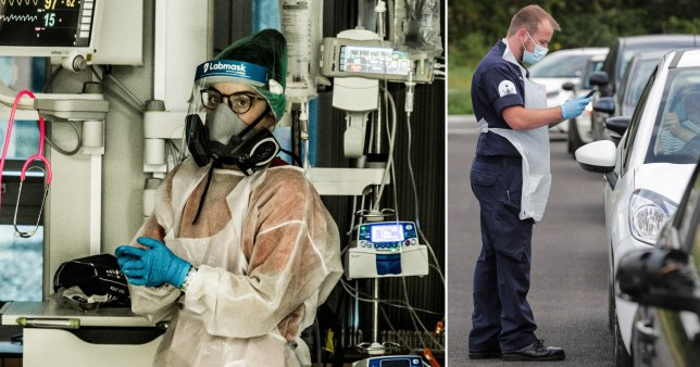 Healthcare workers wear PPE including masks and visors