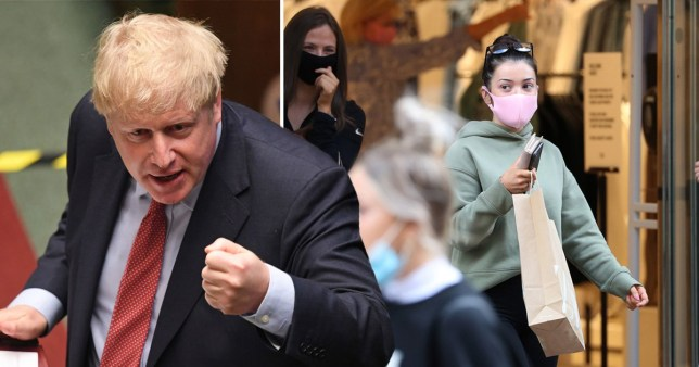 Boris Johnson in the Commons and a woman wearing a face mask as she leaves a shop