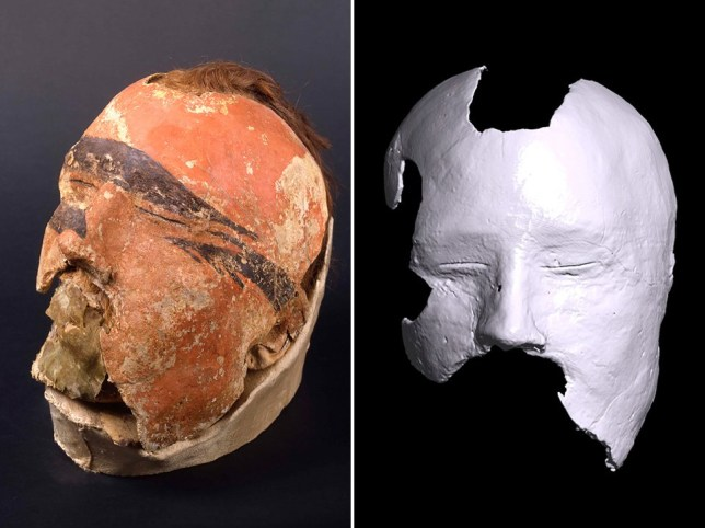 The desk mask (left) and one scan of the face beneath it (right) (Siberian Times)