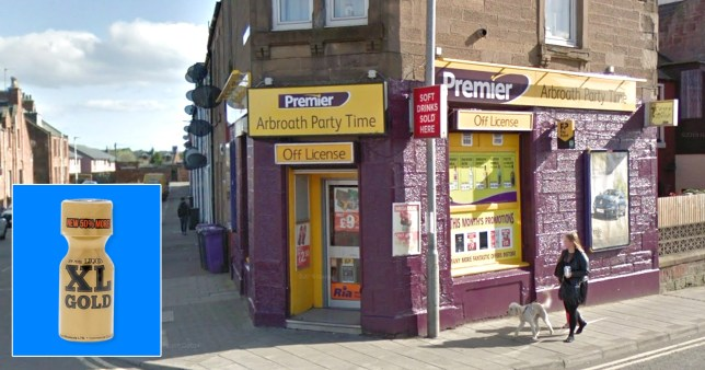 A view of the Party Time off-licence in Arbroath, Angus, Scotland and a bottle of XL Gold poppers, one of which an unnamed Scottish woman drank and died the same day