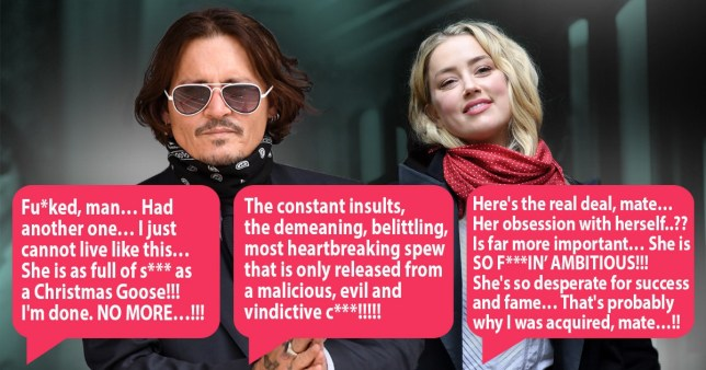 Johnny Depp pictured separately alongside Amber Heard at high court