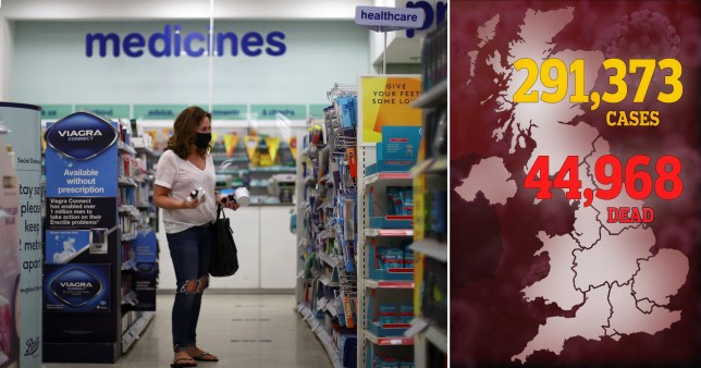 A further 138 people have died after testing positive for coronavirus, bringing the UK death toll to 44,968