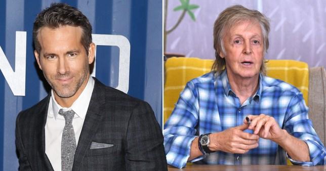Ryan Reynolds pictured separately alongside Paul McCartney