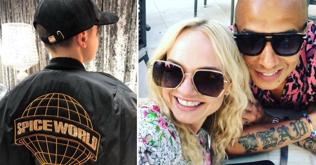Emma Bunton and Jade Jones pictured alongside photo of their son wearing Spice World jacket