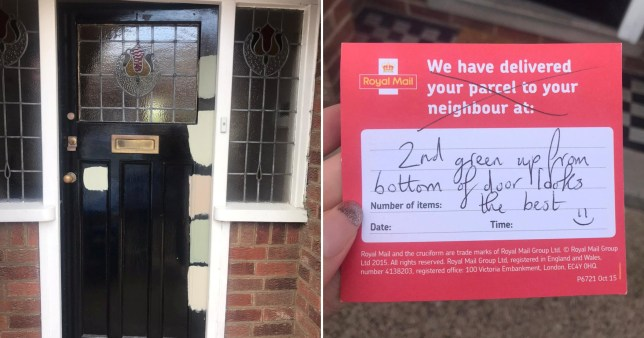 postwoman sends note to help couple choose paint colour for their door