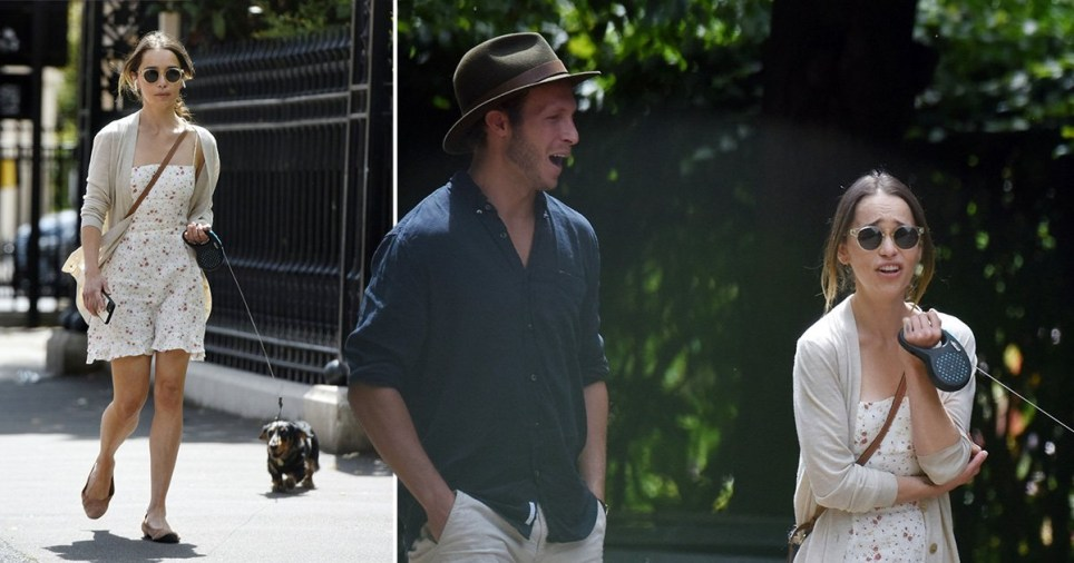 Emilia Clarke pictured walking her dog with male friend in London