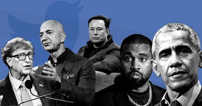 Bill Gates, Jeff Bezos, Elon Musk, Kanye West, Barack Obama in front of a Twitter backdrop