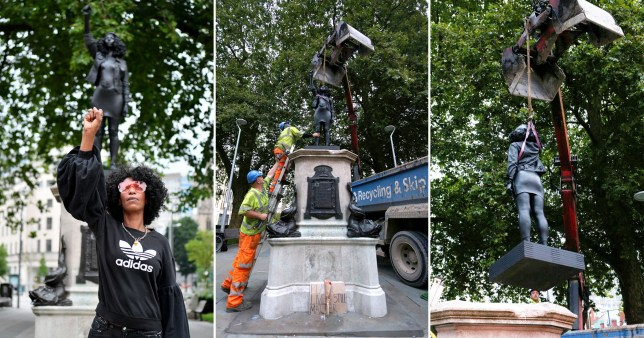 Images showing the removal of the Black Lives Matter statue in Brisol