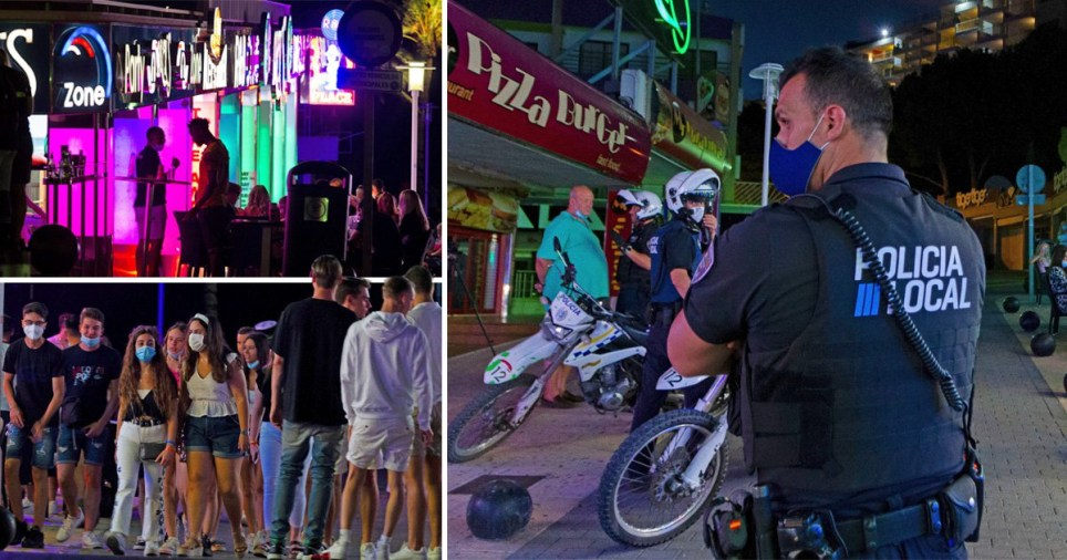 Tourists on the Magaluf party strip despite a police presence