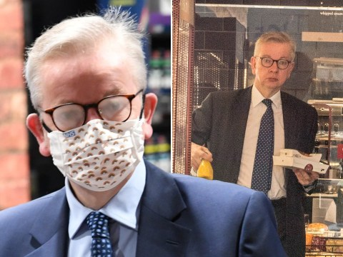 Michael Gove's glasses steam up as he finally gives face masks a go