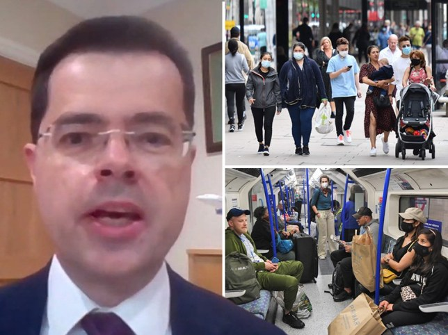 Composite image of James Brokenshire and people using public transport