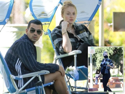 Heavily pregnant Sophie Turner hangs out with husband Joe Jonas and her in-laws at the park