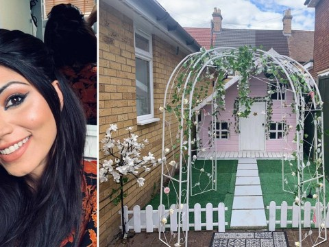 Mum turns daughter's plain wooden playhouse into gorgeous pink paradise for less than £100