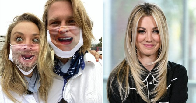Kaley Cuoco and husband Karl Cook get face masks printed with each others mouths on