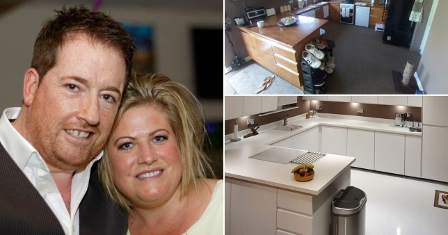 Couple pictured next to a before and after of their kitchen