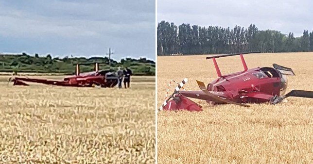 Helicopter comes down in field