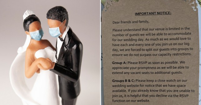 Wedding topper with face mask next to pic of wedding invite