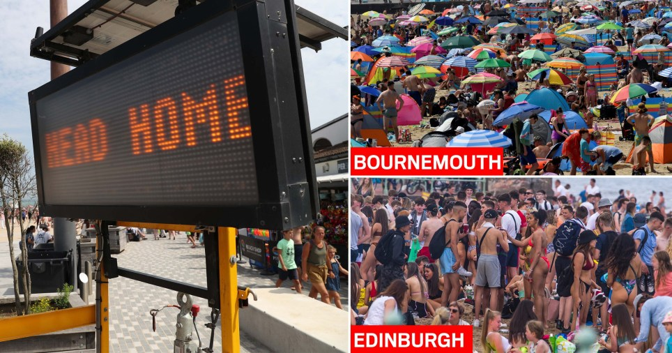 Beaches tell crowds to 'head home' after thousands descend on hottest day