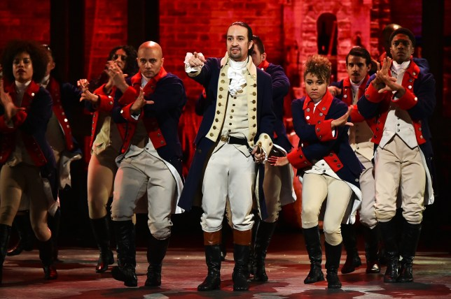 Hamilton on stage in New York
