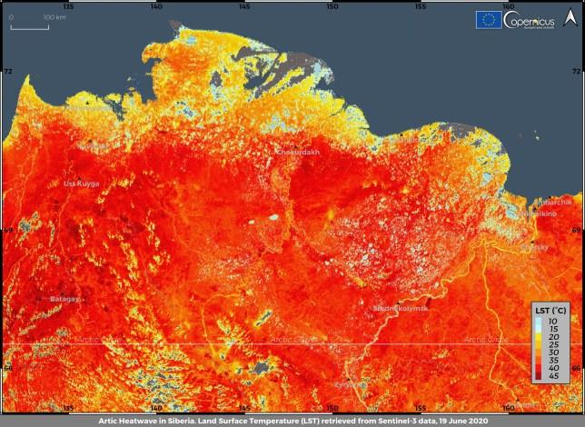 Cette photo prise le vendredi 19 juin 2020 et fournie par l'ECMWF Copernicus Climate Change Service montre la température de la surface du sol dans la région de la Sibérie en Russie.  Une température record de 38 degrés Celsius (100,4 degrés Fahrenheit) a été enregistrée dans la ville arctique de Verkhoyansk le samedi 20 juin dans une vague de chaleur prolongée qui a alarmé les scientifiques du monde entier.  (ECMWF Copernicus Climate Change Service via AP)
