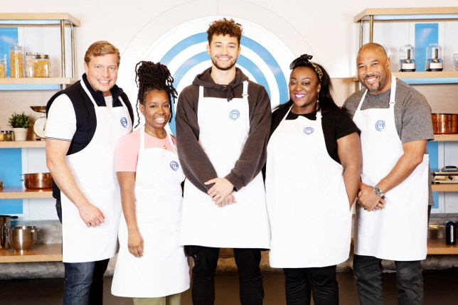 Television Programme: Celebrity Masterchef S15. Episode: Heat 1 (No. Heat 1) - Picture Shows: Thomas Skinner, Shyko Amos, Myles Stephenson, Judi Love, John Barnes MBE - (C) Shine TV - Photographer: Production