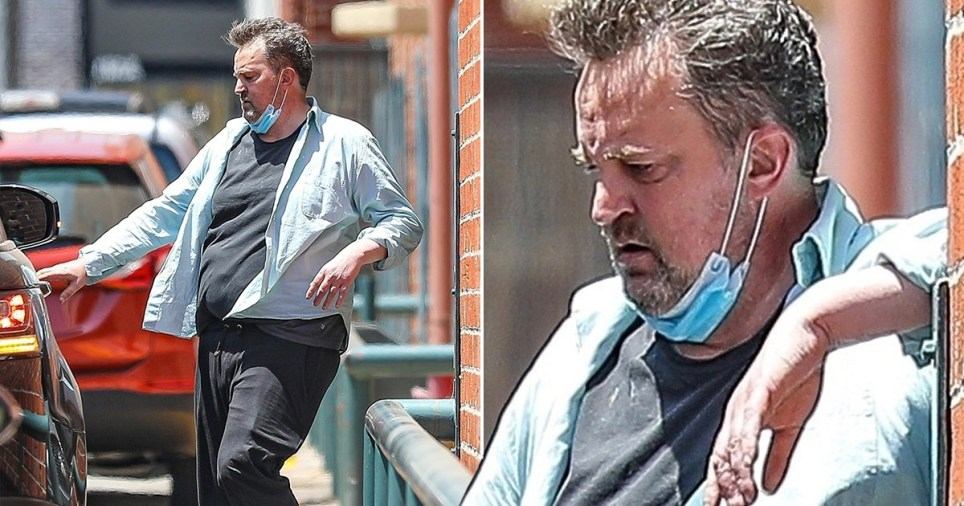 Matthew Perry wearing face mask as he heads to car in Beverly Hills