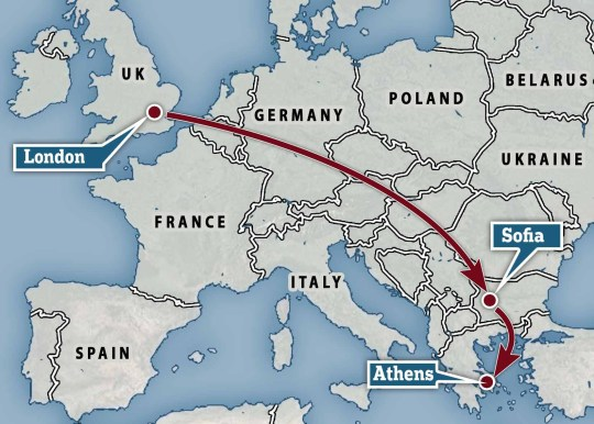 Map showing Stanley Johnson's flight from London to the Bulgarian capital Sofia and then onto Athens, Greece