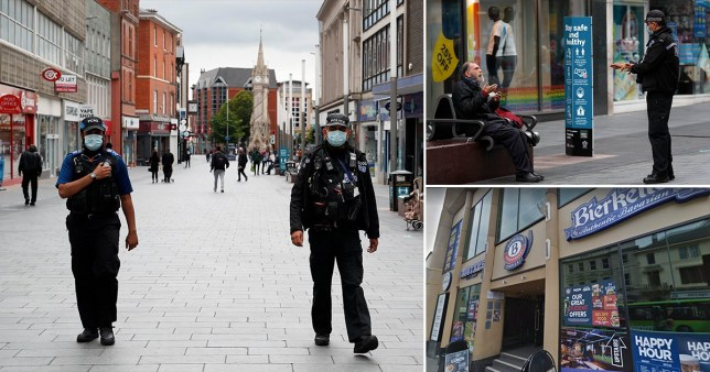 Composite image of police patrolling Leicester and  a pub in Nottingham, (Picture: Getty, Google)