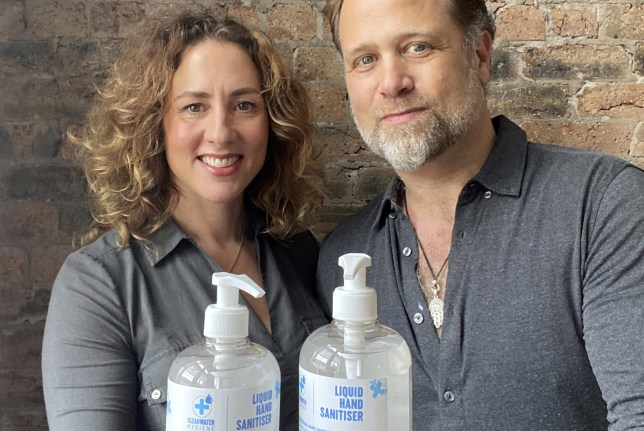 Rachel and Andrew Montague, founders of ClearWater Hygiene. See SWNS story SWSCsnaitiser. A couple who set up a business making hand sanitiser just 12 weeks ago are on track to make more than ?30 million - after securing a raft of corporate contracts. ClearWater Hygiene, founded by husband and wife team Andrew and Rachel Montague, produces high grade hand sanitiser aimed at frontline workers and the wider public. The company began trading in March but now has the capacity to produce more than 900,000 litres of its product every week. The sanitiser is produced at Deeside Gin Distillery in Banchory, Aberdeenshire and bottled in Preston, Lancashire.