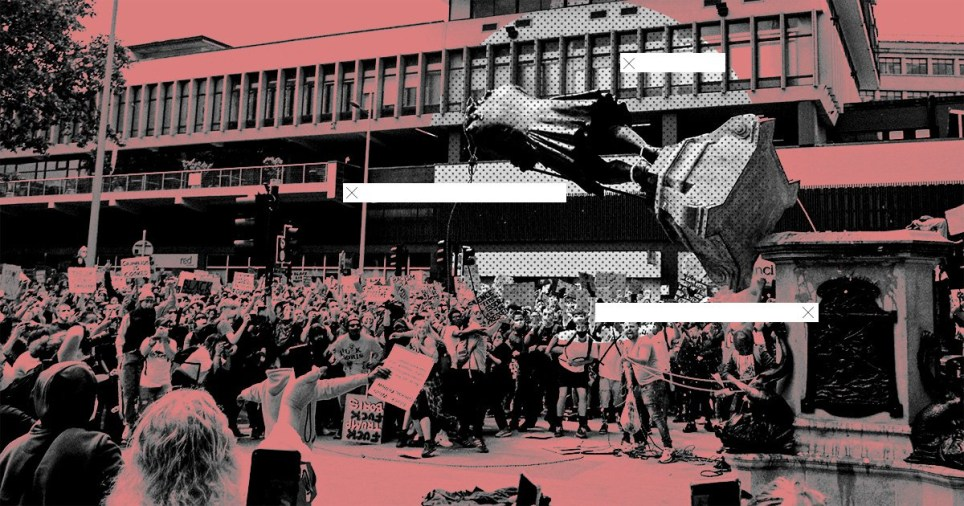 The dramatic moment that the statue of Edward Colston was pulled from its plinth in Bristol city centre, June 7 2020. See SWNS story SWBRstatue. Police have identified and interviewed a first suspect in connection with the toppling of the slave trader of Edward Colston. Avon and Somerset Constabulary confirmed yesterday (June 23) that 'Person B' had voluntarily attended a station after an appeal. The force recently issued pictures of 15 pictures of people they wanted to speak to after the monument was torn down in Bristol earlier this month (June 7). Officers had been searching for 18 people in total - now reduced to 17 after one came forward.