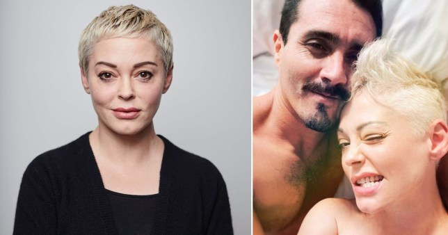 Rose McGowan in bed with mystery man