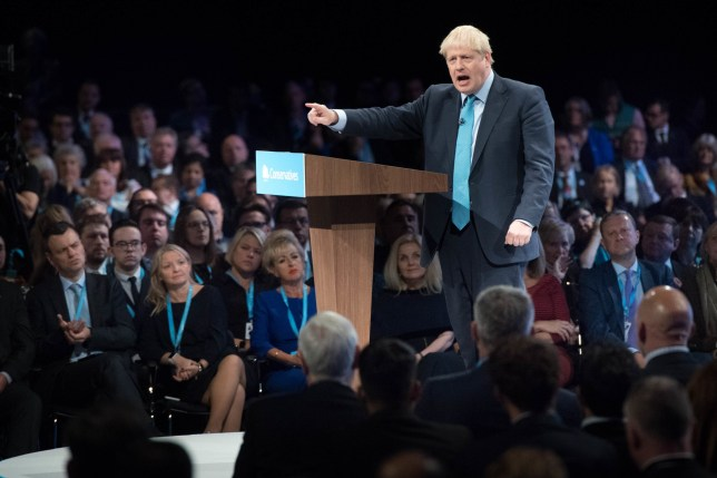 Prime Minister Boris Johnson delivers his speech during the Conservative Party Conference at the Manchester Convention Centre. PA Photo. Picture date: Wednesday October 2, 2019. See PA story TORY Main. Photo credit should read: Stefan Rousseau/PA Wire